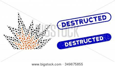 Mosaic Explosion Boom And Corroded Stamp Watermarks With Destructed Caption. Mosaic Vector Explosion