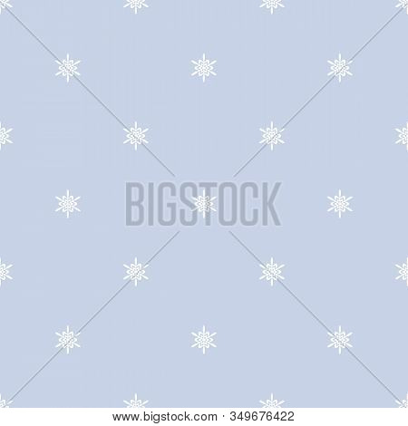 Subtle Geometric Snowflakes Seamless Pattern. Minimalist Vector Christmas Texture With Small White S