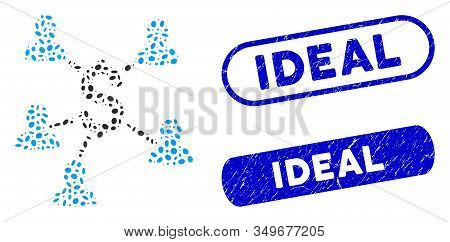 Mosaic Payment Clients And Rubber Stamp Seals With Ideal Phrase. Mosaic Vector Payment Clients Is Co