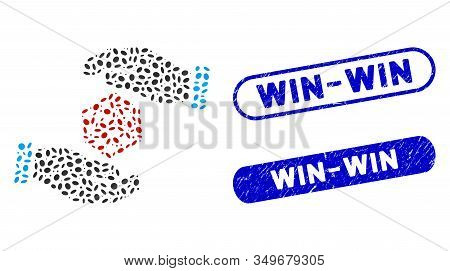 Mosaic Hands Throw Dice And Rubber Stamp Seals With Win-win Text. Mosaic Vector Hands Throw Dice Is
