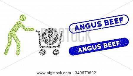 Collage Beef Purchase And Rubber Stamp Seals With Angus Beef Text. Mosaic Vector Beef Purchase Is Fo
