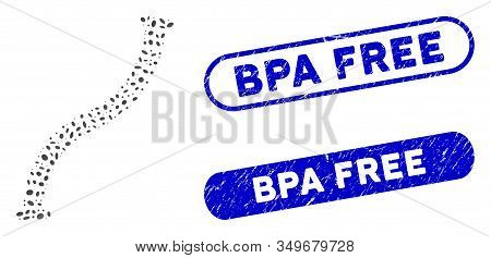 Mosaic Flexible Pipe And Distressed Stamp Seals With Bpa Free Text. Mosaic Vector Flexible Pipe Is D