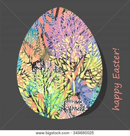 Decorative Easter Egg With Natural Pattern. Vector Illustration.
