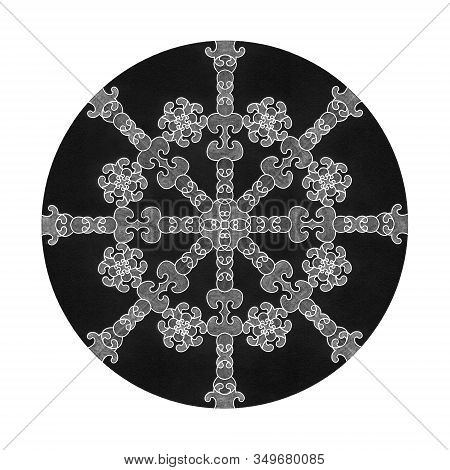 Colored Pencil Effects. Illustration Mandala Black, White And Grey. Abstract. Decorative Element.