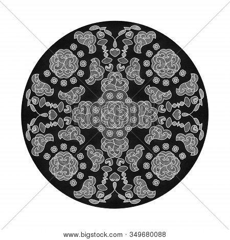 Colored Pencil Effects. Illustration Mandala Black, White And Grey. Hearts Abstract. Decorative Elem