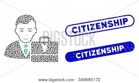 Mosaic Yen Accounter And Corroded Stamp Seals With Citizenship Text. Mosaic Vector Yen Accounter Is