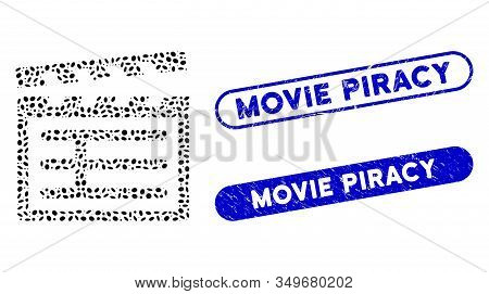 Mosaic Clapboard And Grunge Stamp Seals With Movie Piracy Caption. Mosaic Vector Clapboard Is Create