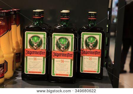 Beverwijk, The Netherlands, December 15th 2018: Jagermeister In A Liquor Store. A German Digestif Ma