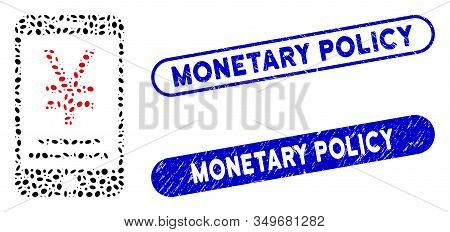 Mosaic Yen Mobile Payment And Distressed Stamp Seals With Monetary Policy Caption. Mosaic Vector Yen