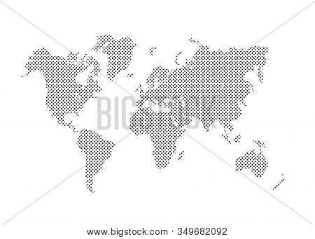 Dotted Political World Map. Template With Grey Points Isolated On White Background. Vector World Map
