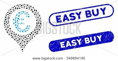 Mosaic Euro Geotargeting And Grunge Stamp Seals With Easy Buy Caption. Mosaic Vector Euro Geotargeti