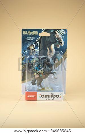 Bangkok, Thailand - February 4, 2020. Figure Amiibo Game Of Link Zelda In Packaging For Nintendo Swi