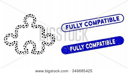 Mosaic Puzzle And Grunge Stamp Seals With Fully Compatible Text. Mosaic Vector Puzzle Is Designed Wi