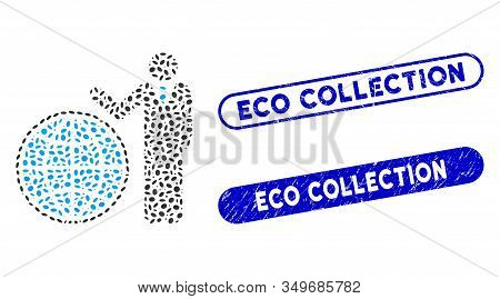 Mosaic Planetary Manager And Corroded Stamp Seals With Eco Collection Text. Mosaic Vector Planetary