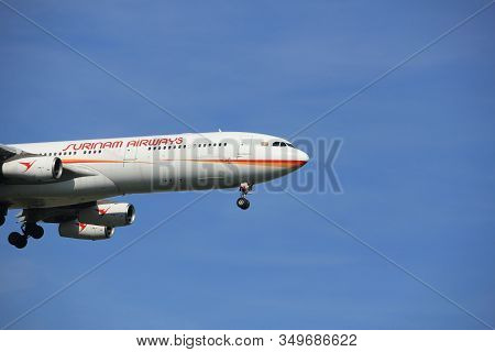Amsterdam The Netherlands - April, 19th 2018: Pz-tcr Surinam Airways Airbus A340-300 On Final Approa