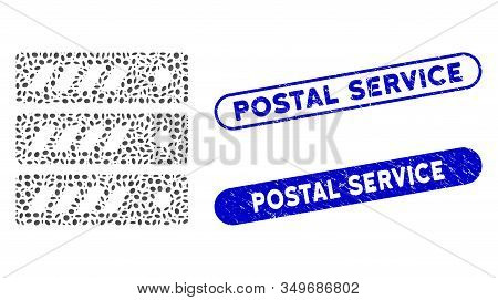 Collage Server And Rubber Stamp Seals With Postal Service Text. Mosaic Vector Server Is Designed Wit