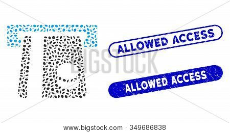 Mosaic Bank Card Terminal And Grunge Stamp Seals With Allowed Access Caption. Mosaic Vector Bank Car