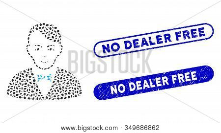 Mosaic Dealer And Corroded Stamp Seals With No Dealer Free Text. Mosaic Vector Dealer Is Composed Wi