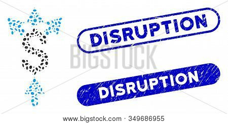 Mosaic Divide Payment And Grunge Stamp Seals With Disruption Text. Mosaic Vector Divide Payment Is C