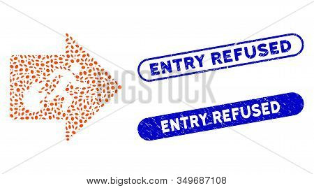 Mosaic Fire Exit And Corroded Stamp Seals With Entry Refused Text. Mosaic Vector Fire Exit Is Create