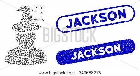 Mosaic Magic Person And Rubber Stamp Seals With Jackson Text. Mosaic Vector Magic Person Is Designed
