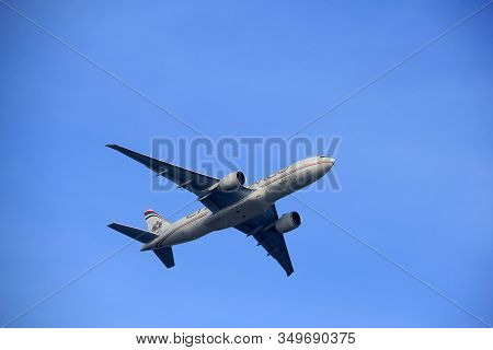 Amsterdam The Netherlands - March 4th, 2018: A6-dda Etihad Airways Boeing 777f Takeoff From Aalsmeer