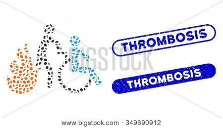 Mosaic Fire Patient Evacuation And Corroded Stamp Seals With Thrombosis Caption. Mosaic Vector Fire
