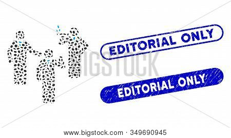 Mosaic Discussion Group And Distressed Stamp Seals With Editorial Only Caption. Mosaic Vector Discus