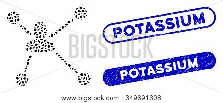 Mosaic Social Graph And Rubber Stamp Seals With Potassium Text. Mosaic Vector Social Graph Is Design