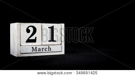 March 21st, Twenty-first Of March, Day 21 Of Month March - White Calendar Blocks On Black Textured B