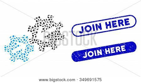 Mosaic Integration And Distressed Stamp Seals With Join Here Phrase. Mosaic Vector Integration Is Cr