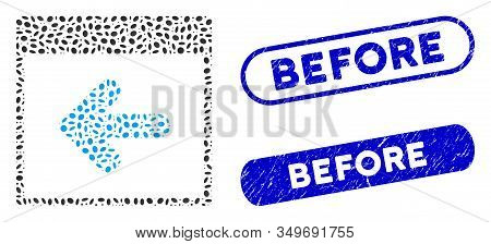 Mosaic Previous Calendar Day And Grunge Stamp Seals With Before Text. Mosaic Vector Previous Calenda