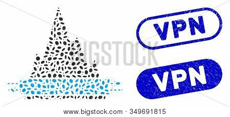 Mosaic Vpn Tunnel And Corroded Stamp Seals With Vpn Text. Mosaic Vector Vpn Tunnel Is Designed With