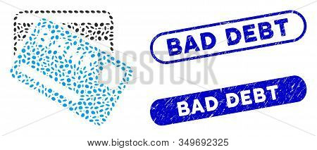Mosaic Bank Cards And Corroded Stamp Seals With Bad Debt Caption. Mosaic Vector Bank Cards Is Compos