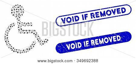 Mosaic Disabled Person And Rubber Stamp Seals With Void If Removed Phrase. Mosaic Vector Disabled Pe