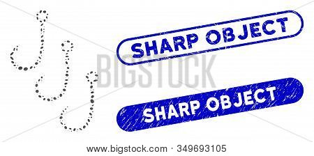 Mosaic Fishing Hooks And Corroded Stamp Seals With Sharp Object Phrase. Mosaic Vector Fishing Hooks