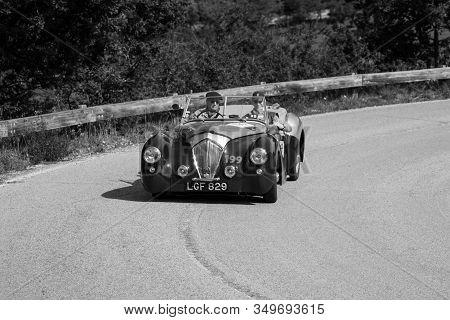 Pesaro Colle San Bartolo , Italy - May 17 - 2018 : Healey 2400 Westland 1950 On An Old Racing Car In