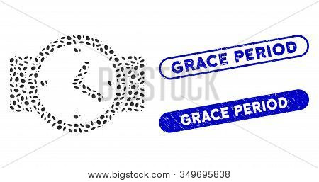 Mosaic Watches And Distressed Stamp Seals With Grace Period Caption. Mosaic Vector Watches Is Formed