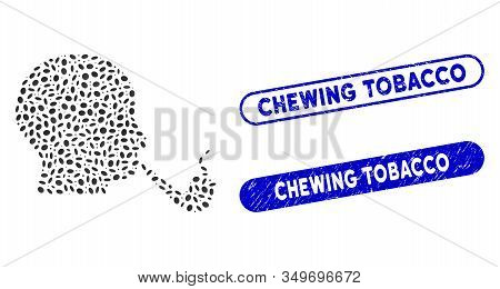 Mosaic Smoking Detective And Distressed Stamp Seals With Chewing Tobacco Text. Mosaic Vector Smoking