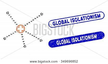 Mosaic Medical Relations And Corroded Stamp Seals With Global Isolationism Phrase. Mosaic Vector Med