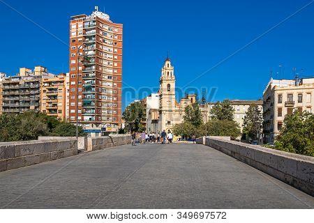 Valencia, Spain - November 3, 2019: View From The Bridge Puente De Serranos At The Square Plaza De S