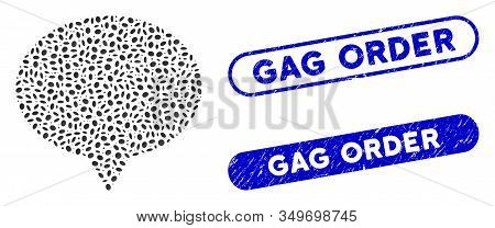 Mosaic Banner And Rubber Stamp Seals With Gag Order Phrase. Mosaic Vector Banner Is Designed With Sc