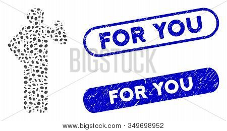 Mosaic Proposal Pose And Grunge Stamp Watermarks With For You Caption. Mosaic Vector Proposal Pose I