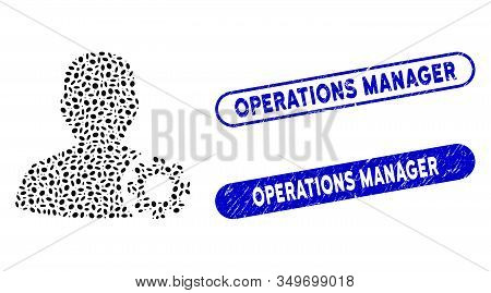 Mosaic User Options And Rubber Stamp Seals With Operations Manager Text. Mosaic Vector User Options