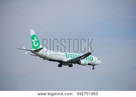 Amsterdam, The Netherlands - July 21st 2016: Ph-hxa Transavia Boeing 737,  Approaching Polderbaan Ru