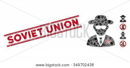 Mosaic Kgb Spy Icon And Red Soviet Union Seal Between Double Parallel Lines. Flat Vector Kgb Spy Mos