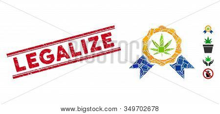 Mosaic Cannabis Legalize Icon And Red Legalize Seal Stamp Between Double Parallel Lines. Flat Vector