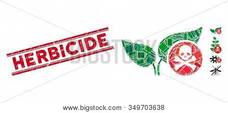 Mosaic Herbicide Pictogram And Red Herbicide Seal Stamp Between Double Parallel Lines. Flat Vector H