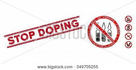 Mosaic No Ampoules Pictogram And Red Stop Doping Watermark Between Double Parallel Lines. Flat Vecto