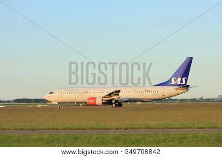 Amsterdam, The Netherlands  - June 1st, 2017: Ln-rpr Sas Scandinavian Airlines Boeing 737 Taking Off